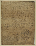 Sixteen grotesque heads (recto)
