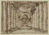 Architectural capriccio - interior of a colonnaded hall (recto)