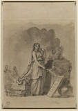 Female figure sacrificing at an altar (verso)