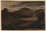 Landscape at dusk with mountains and lake with figures on shore