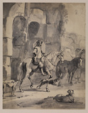 Horseman by a ruin