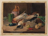 Still-life, with ducks, vegetables and jars