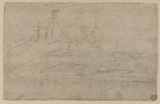 Sketch of a ruin on a hill (verso)