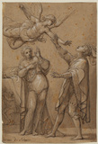 Woman with soldier and angel