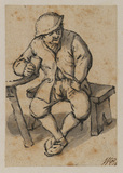 Peasant seated at table with a glass
