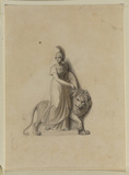 Female figure with helmet and shield holding a lion on a leash - illustration to Bowyer's 'History of England'