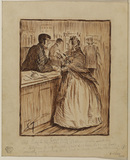Woman and a telegraph clerk