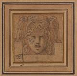 Ornamental head with winged helmet