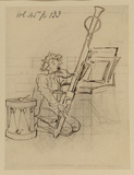 Man playing bassoon - an illustration for Punch (recto)