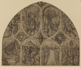 Design for a stained-glass window - stories of Saint Genevieve