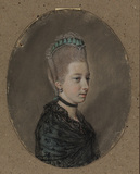 Portrait of a lady, bust length, half turned to the right