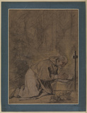Male saint kneeling in prayer
