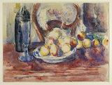 Pommes, bouteille, dossier de chaise
