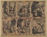 Six biblical scenes in a decorative frame