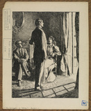Illustration to 'The Entrance of Tobias - seated man and woman with man standing before a French window