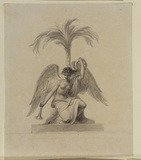 Winged female figure with trumpet under a palm tree - illustration to Bowyer's 'History of England'