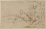 Landscape with two peasants and a dog