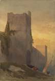 Hilltop castle with Norman towers, and cattle at sunset