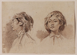 Two studies of the head of a Burmese girl