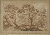 Wood landscape with figures