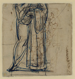 Studies of draped figure (verso)