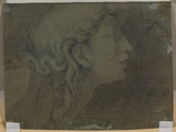 Study of head and shoulders in profile to right of a young woman (verso)