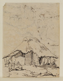 Oriental scene, with a cottage and three figures (recto)