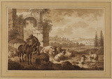 Landscape with ruin and man loading a donkey