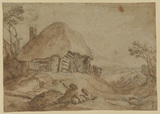 Landscape with cottage, two resting figures in foreground