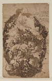 Design for the painted ceiling of Painted Hall, Greenwich Hospital (recto)