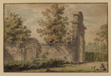 Garden wall and arch with figures