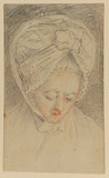 Head of a woman in lace headdress, looking down