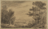 Landscape with figures (recto)