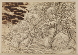 Wooded landscape with two figures