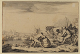 Port scene on a river with figures