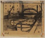 Men loading barges - industrial scene