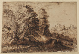 Landscape with figure resting (recto)