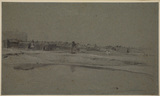 Seaside village viewed across sand flats