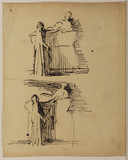 Two sketches of a woman standing before a tomb