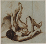 Nude figure of a young man lying on his back, with his left arm and leg raised - probably a study for 'Apollo flaying Marsyas'