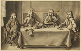 Four men seated at a table