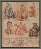 Four drawings and five engravings mounted together by Hubert Robert