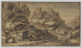 Rocky landscape with figures