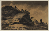 Sheep and shepherd on the brow of a hill