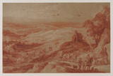 Landscape with figures, cattle and wagons