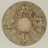 Design for a decorated dish - frieze with Neptune and Amphitrite