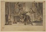 The Discovery, or drawing for 'The Ideal Husband' (preparatory drawing for the decorations at Vauxhall Gardens ?)