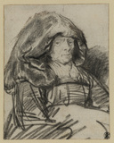 Old woman with a large head-dress
