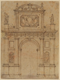 Design for an arch with arms of Urban VIII, and with allegorical figures of Vice and Virtue