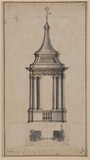 Elevation and plan of a campanile of San Carlo alle Quattro Fontane, Rome